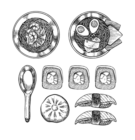 patties: Hand drawn vector illustrations - Asian cuisine. Ramen and some asian dishes. Perfect for restaurant brochure, cafe flyer, delivery menu. Illustrations in sketch style