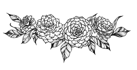 invoices: Hand drawn vector illustration - Bouquet with vintage branches and succulent flowers. Perfect for wedding invitations, greeting cards, brochures, vouchers, certificates, flyers Illustration