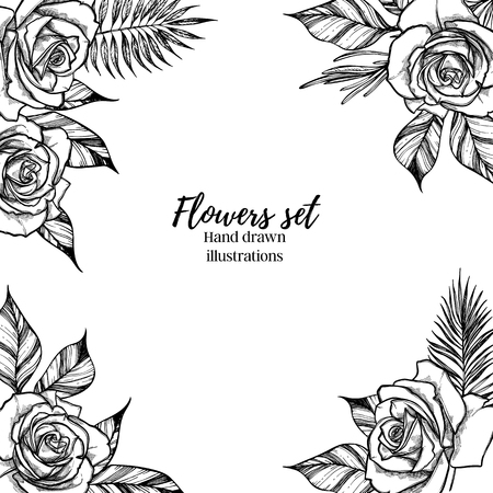 Hand drawn vector illustration -  Wedding frame with roses and tropical branches. Perfect for  invitations, greeting cards, quotes, blogs, posters etc. Vintage collection Ilustração
