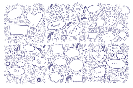 doddle: Hand drawn vector illustration. Set of speech bubbles and others doddle elements.