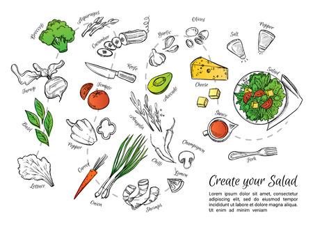 Illustration vectorielle dessinés à la main de salade fraîche avec des légumes, fromage, fruits de mer etc. Créez votre salade. Parfait pour brochure de restaurant, dépliant de café, menu de livraison.