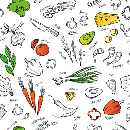 cucumber slice: Hand drawn vectorseamless pattern  with vegetables, cheese, seafood etc. Perfect for restaurant brochure, cafe flyer, delivery menu.