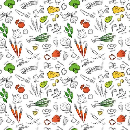 Motif dessiné à la main avec des légumes, du fromage, des fruits de mer, etc. Parfait pour la brochure du restaurant, le dépliant du café, le menu de livraison.