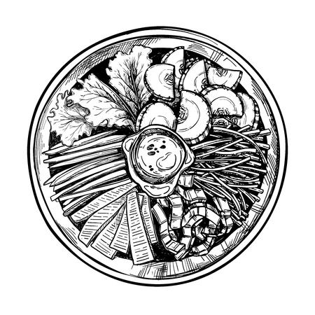 Hand drawn vector illustration. Asian food. Bibimbap. Perfect for restaurant brochure, cafe flyer, delivery menu. Illustration