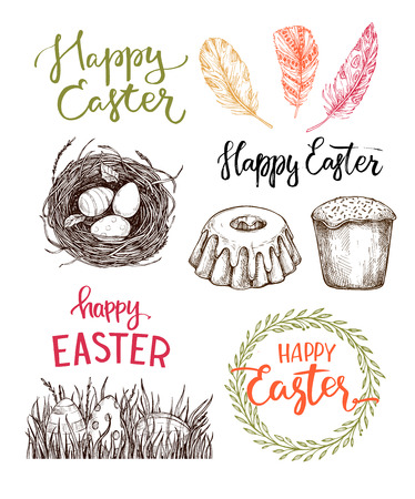 greating card: Hand drawn vector illustration. Happy Easter! Easter design elements (eggs, feathers, nest, cake, lettering). Perfect for invitations, greeting cards, blogs, posters and more