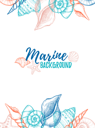 Hand drawn vector colorful illustration - Marine background. Design template with seashells. Perfect for invitations, greeting cards, posters, prints, banners,  etc