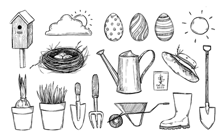 gumboots: Hand drawn vector illustration. Garden collection (birdhouse, nest, tools, seeds, seedlings, watering can, gumboots). Spring icons in sketch style.  Perfect for invitations, greeting cards, blogs, posters and more