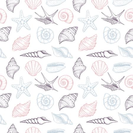 Illustrazioni vettoriali disegnate a mano - seamless pattern of seashells. Sfondo marino. Perfetto per inviti, biglietti di auguri, manifesti, stampe, banner, volantini ecc Archivio Fotografico - 80532657