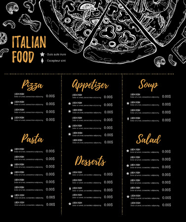 Hand drawn vector illustration - Italian menu. Pasta and Pizza. Perfect for restaurant brochure, cafe flyer, delivery menu. Design template with illustrations in sketch style.