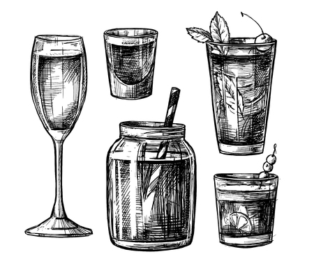 mason: Hand drawn vector illustration - Collection of alcoholic and non-alcoholic cocktails. Design elements in sketch style. Perfect for brochure, cafe flyer, bar menu and restaurant menu