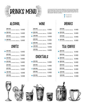 Handgezeichnete Vektor-Illustration - Bar-Menü. Vorlage Des ...