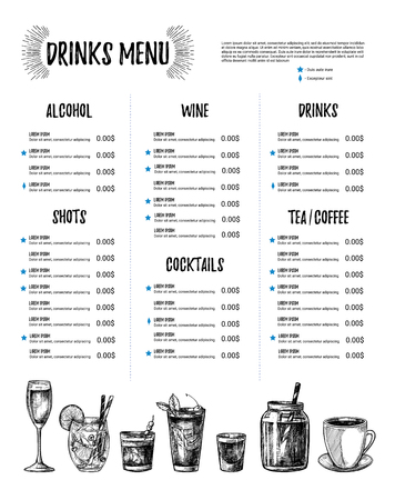 Hand drawn vector illustration - Bar menu. Template of Restaurant menu with illustrations in sketch style. Perfect for brochure, cafe flyer, delivery menu.