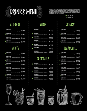Hand Drawn Vector Illustration  Bar Menu Template Of Restaurant