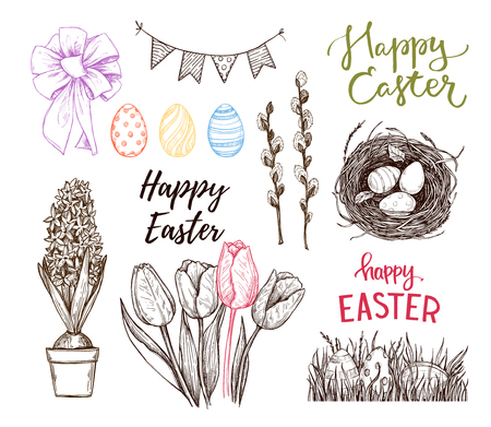 springtime: Hand drawn vector illustration. Happy Easter! Easter design elements (eggs, feathers, nest, cake, lettering, flowers). Perfect for invitations, greeting cards, blogs, posters and more Illustration