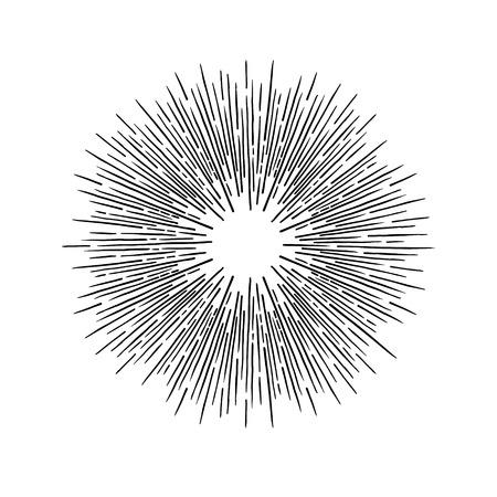 Elementi vintage vettoriali disegnati a mano - scoppio di sole (raggi di scoppio). Perfetto per inviti, biglietti di auguri, blog, poster e altro ancora Archivio Fotografico - 80532728