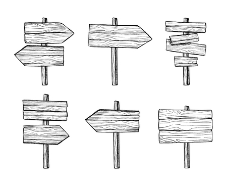 indicator board: Hand drawn vector illustrations. Wooden signposts and sign boards. Wood arrows and planks. Perfect for websites, cards, posters, prints, blogs, advertising