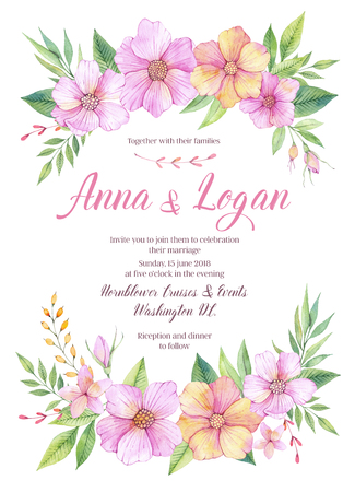 Hand drawn watercolor illustration. Wedding invitation with leaves and flowers. Watercolor ready to use card. Save the date.  Perfect for invitations, greeting cards, blogs, posters and more