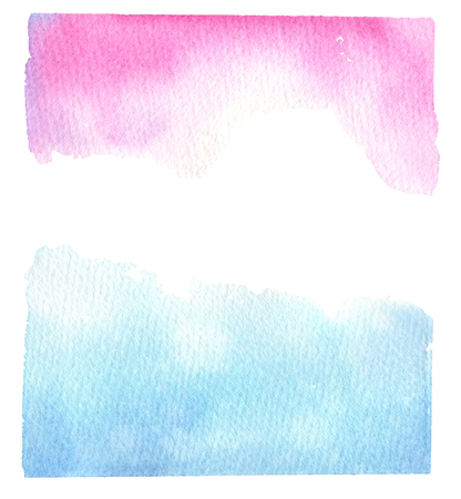 slick: Hand drawn watercolor illustration. Blue and pink background with abstract watercolor splash. Perfect for invitations, greeting cards, blogs, posters and more Stock Photo