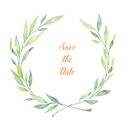 Illustrazione ad acquerello disegnato a mano. Corona di alloro. Perfetto per inviti di nozze, biglietti di auguri, blog, poster e altro Archivio Fotografico - 81489620