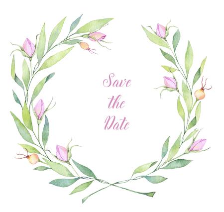 Illustrazione ad acquerello disegnato a mano. Ghirlanda di fiori Perfetto per inviti di nozze, biglietti di auguri, blog, poster e altro Archivio Fotografico - 81049868
