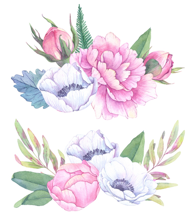 Hand drawn watercolor illustrations. Bouquets with spring leaves, anemones and peonies. Save the date. Perfect for wedding invitations, greeting cards, blogs, posters and more
