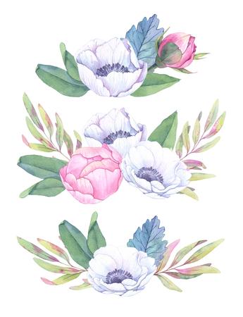 Hand getekende aquarel illustraties. Boeketten met lenteblaadjes, anemonen en pioenen. Sla de datum op. Perfectioneer voor huwelijksuitnodigingen, wenskaarten, blogs, posters en meer
