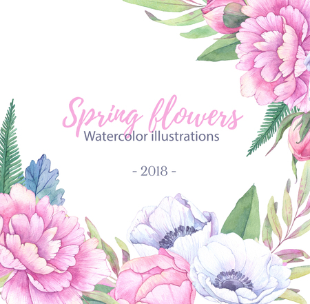 Hand drawn watercolor illustration. Wedding invitationgreeting card with leaves, peonies, anemones flowers. Watercolor ready to use card. Save the date.