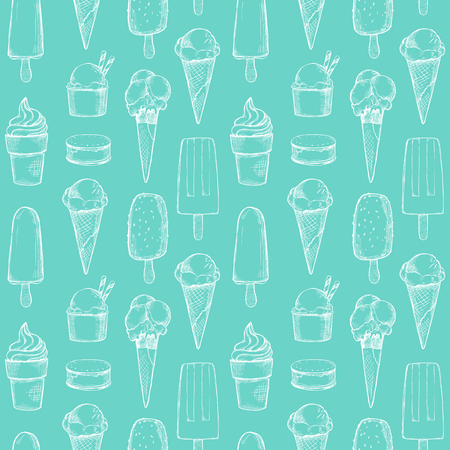 Hand drawn vector background - Collection of ice cream. Sweet seamless pattern. Illustrations in sketch style. Perfect for packing, textile, print, fabric etc