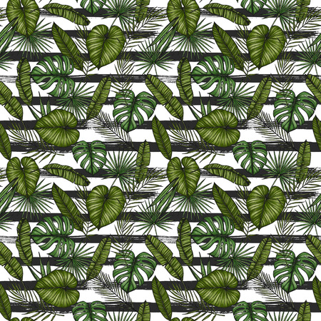 Tropical seamless pattern. Background with palm leaves (monstera, areca palm, fan palm, banana leaves). Hand drawn colorful illustration. Perfect for prints, posters, invitations, textile, packing etc Stock Photo