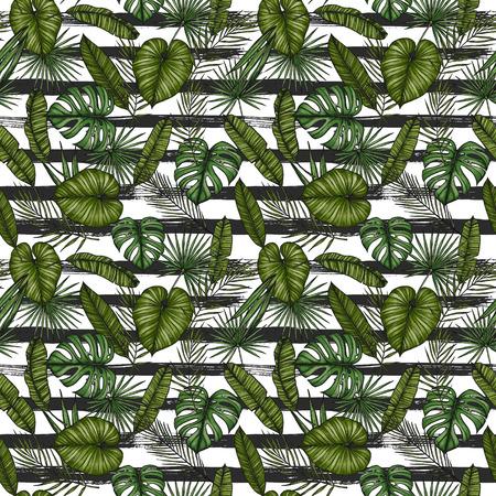 Tropisch naadloos patroon. Achtergrond met palmbladeren (monstera, areca palm, waaierpalm, banaanbladeren). Hand getrokken kleurrijke illustratie. Perfect voor afdrukken, posters, uitnodigingen, textiel, verpakking enz