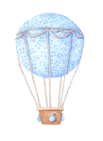 Hand drawn watercolor illustration - hot air balloon in the sky. Perfect for baby prints, posters, invitations etc
