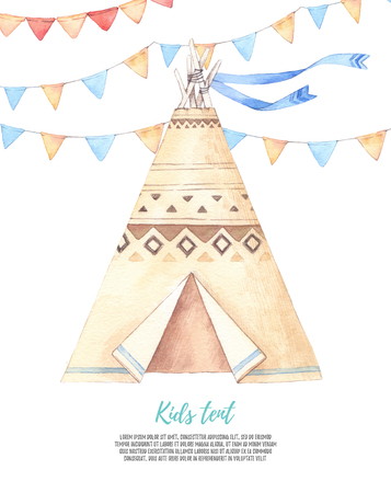 Watercolor illustration - Kids tent with garlands. Baby shower party. Perfect for prints, postcards, posters, greeting cards etc Stock Photo