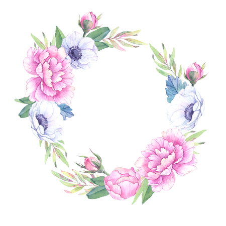 Watercolor illustration. Floral wreath with leaves, peonies and anemones flowers. Perfect for Wedding invitation or greeting card. Ready to use card. Save the date.