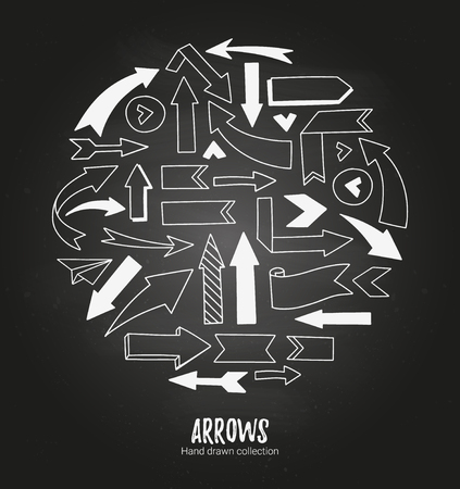 sketched arrows: Hand drawn vector illustration - arrow collection. Sketch. White design elements on a blackboard background. Perfect for advertising and business presentations, cards, blogs, posters etc.