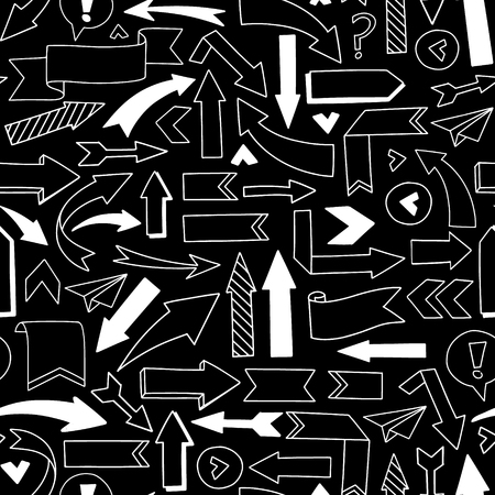 sketched arrows: Vector Seamless pattern. Hand sketched illustrations - arrows. Sketch. white design elements on a black background. Perfect for advertising and business presentations, cards, blogs, posters etc. Illustration
