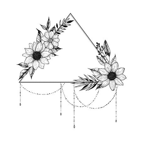 Ilustración de vector dibujado a mano - triángulo con flores y hojas. Ramo floral. Perfecto para invitaciones, tarjetas de felicitación, tatuajes, textiles, impresiones, carteles, etc. Foto de archivo - 82864992