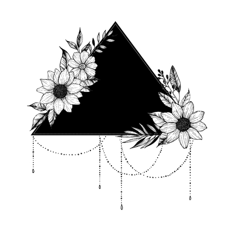 Hand drawn vector illustration - triangle with flowers and leaves. Floral bouquet. Perfect for invitations, greeting cards, tattoo, textiles, prints, posters etc