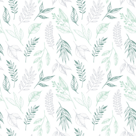 Hand drawn vector illustration - seamless pattern with branches and leaves. Floral background. Perfect for invitations, greeting cards, textiles, prints, posters etc Vektorové ilustrace