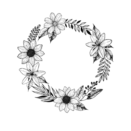 Hand drawn vector illustration. Laurel Wreath with black flowers, leaves and branches. Perfect for wedding invitations, greeting cards, prints, postcards and more Illustration