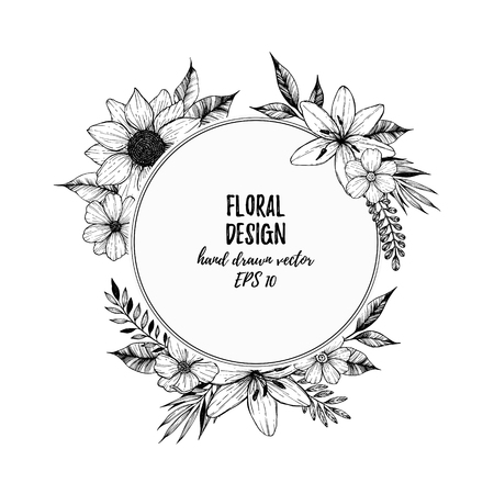 Hand drawn vector illustration - round card with black flowers and leaves. Hand drawn design elements in sketch style. Perfect for invitations, prints, tattoo, posters etc.