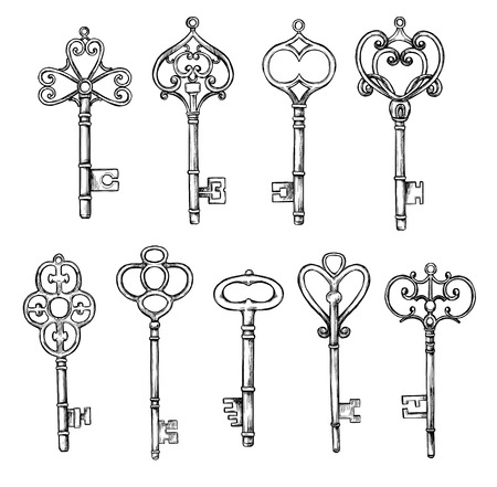 Hand sketched vector illustrations - collections of vintage keys. Design elements with decorative symbols. Medieval keys. Retro clipart. Perfect for invitations, magazins, postcards, prints etc Stock Illustratie
