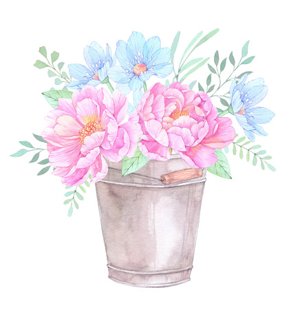 Watercolor illustration. Bucket with Floral elements. Bouquet with peonies, blue flowers, leaves and branches. Perfect for Wedding invitation, greeting card, prints or posters.