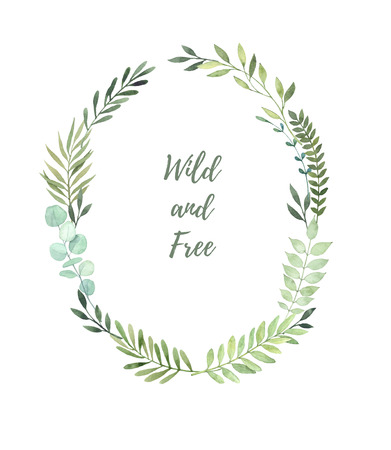 Hand drawn watercolor illustration. Laurel Wreath with leaves and branches. Perfect for wedding invitations, greeting cards, prints, postcards and more Archivio Fotografico
