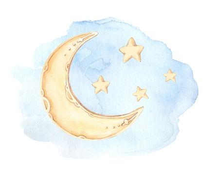 손으로 그린 수채화 그림 - 좋은 밤 (잠자는 달, 별, 구름). 아기 프린트. 인쇄물, 엽서, 포스터, 축하 카드 등에 적합합니다.