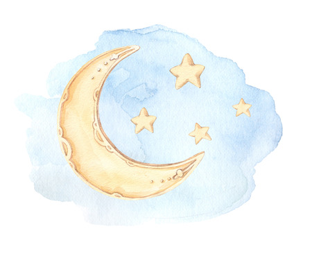 Hand Drawn watercolor illustration - Good night (sleeping moon, stars, clouds). Baby print. Perfect for prints, postcards, posters, greeting cards etc Stock Photo