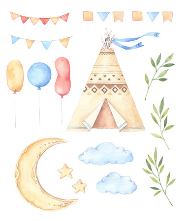Watercolor illustrations - Kids tent, moon and stars, balloons, floral branches and garlands. Ideas for a children's room. Baby shower party elements. Perfect for prints, postcards, posters, greeting cards etc Banco de Imagens - 83125333
