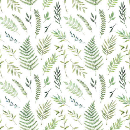 Hand drawn watercolor illustration. Botanical background with green leaves, branches and herbs. Floral Design elements. Perfect for wedding invitations, greeting cards, textiles, prints, posters, packing etc