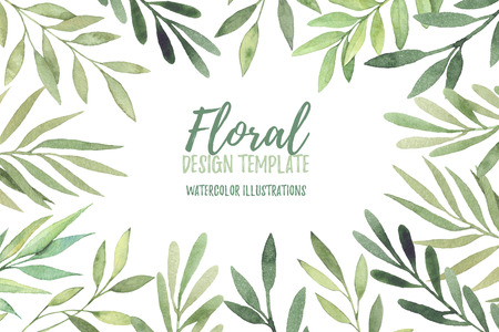 Hand drawn watercolor illustration. Botanical frame with green leaves, branches and herbs. Floral Design elements. Perfect for wedding invitations, greeting cards, prints, posters, packing etc