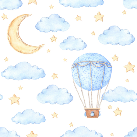 Watercolor seamless pattern - Air balloon, moon and stars. Ideas for a children's room. Baby shower party elements. Perfect for prints, postcards, prints, greeting cards, fabric etc