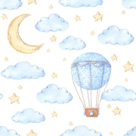 Waterverf naadloos patroon - Luchtballon, maan en sterren. Ideeën voor een kinderkamer. Baby shower partij elementen. Perfect voor afdrukken, briefkaarten, afdrukken, wenskaarten, stoffen enz